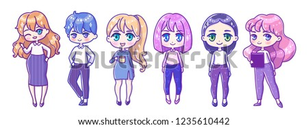 Cute Vector Set Illustration Kawaii Anime Stock Vector Royalty Free