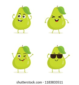 Cute vector set of pear fruit character in different action emotion. Collection of pear characters in different expressions, Funny fruit character isolated on white background