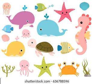 Cute vector set with sea animals for scrapbooking, baby showers and summer designs