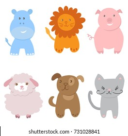 Cute Vector Set of Small Baby Animals. Cat, dog, pig, lion, sheep and hippo isolated on white background. Vector illustration for textile, print, child cloth, wallpaper, wrapping. Child illustration.
