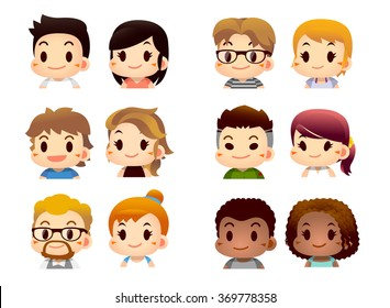Cute Vector Set of various Character male and female on white Background