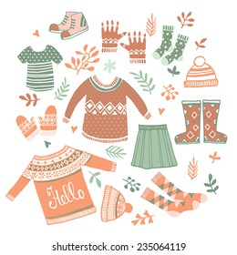 Cute Vector set winter clothing