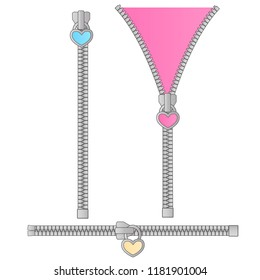 Cute vector set of zippers in the form of a small pink, blue, yellow heart. Suitable for birthday invitations in style lol doll surprise. Zipped and unzipped. Opened and closed