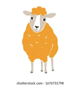 Cute vector sheep. Yellow sheep isolated on a transparent background. Vector shabby hand drawn illustration