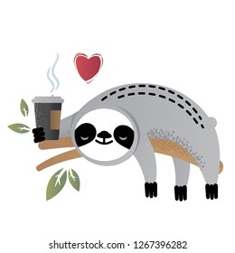 Cute vector sloth bear animal loves coffee. Can be used for cards, flyers, posters, t-shirts.
