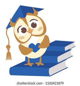 Cute vector smart owl with hat. Illustration for the diploma of kindergarten graduates. Preschool child. A small bird with a heart in its hands. Blue books isolated on white background