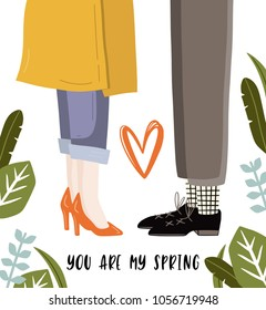 Cute vector spring card with florals . Poster in romantic style.