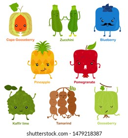 Cute vector of square shaped smiling fruit, vegetable with happy face - Pineapple Pomegranate Cape Gooseberry Zucchini Gooseberry Blueberry Kaffir lime Tamarind. Colorful set of food illustration