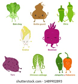 Cute vector of square shaped smiling fruit, vegetable with happy face - Bok choy Okra Beetroot Bottle gourd Taro Endive Chinese cabbage Jalapeno Habanero. Colorful set of food illustration on white