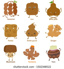 Cute vector of square shaped smiling fruit, vegetable with happy face in brown color - Tamarind Kiwi Pear Potato Bottle gourd Ginger Mushroom Turmeric Taro. Colorful illustration set on white backgrou