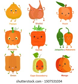 Cute vector of square shaped smiling fruit, vegetable with happy face in yellow orange color - Papaya Shallot Peach Pumpkin Carrot Jalapeno Habanero Onion Cape gooseberry Mango. Colorful illustration