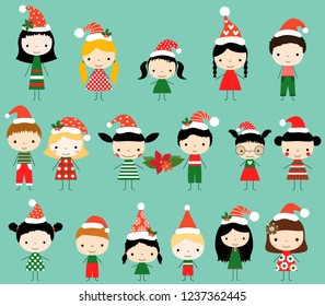 Cute vector stick figures in red and green Christmas clothes with Santa hats