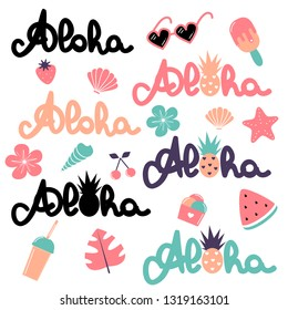 cute vector summer elements collection with hand drawn lettering word aloha, watermelon, smoothie, monstera, ice cream, pineapple, cherry, strawberry, flowers, sunglasses and seashell