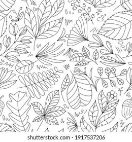 Cute Vektor Sommer handgezeichnet Blatt nahtlos Muster. Drucken mit Blättern. Elegantes, schönes Monoline-Naturschmuck für Stoff, Umhüllung und Textilien. Schwarzweißpapier.