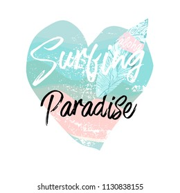 Cute vector Summer illustration collage with surf board and calligraphic text on seascaped shape of heart background. Tropical summer old fashionedl sticker or sign border