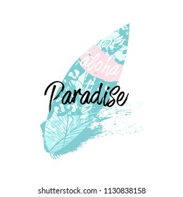 Cute vector Summer illustration collage with surf board and calligraphic text on seascaped shape of heart background. Tropical summer