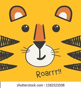 cute vector tiger head illustration, vector