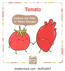 Cute vector tomato and human heart. Healthy food fact.