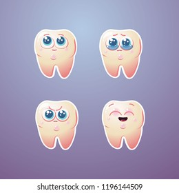 Cute vector tooth stickers/icons characters set