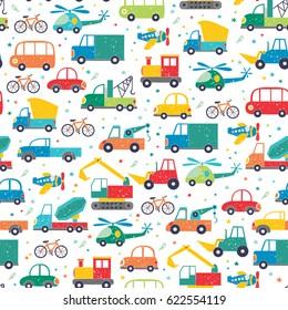 Cute vector transport pattern. Cartoon travel seamless background.
