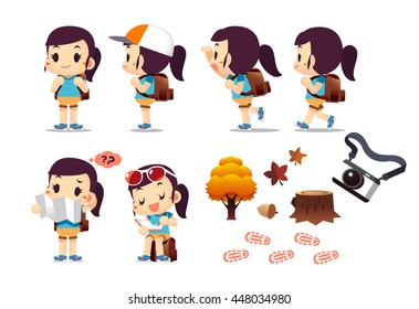 Cute Vector Trekking Girl, Hiking Women, with some Objects Isolated on White Background