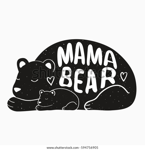 Cute Vector Typography Poster Mother Bear Stock Vector