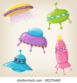 Cute vector UFOs