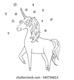 Cute vector unicorn - hand drawn kawaii style illustration with imaginary horse from children fairytale. Ink sketch with outlines