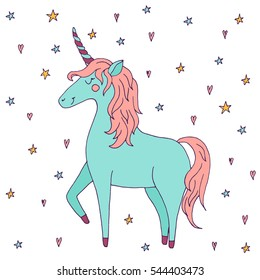 Cute vector unicorn - hand drawn kawaii style illustration with imaginary horse from children fairytale. Ink sketch with hearts and stars