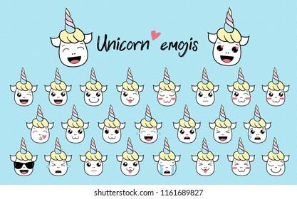 cute vector unicorn icon emoji fanny isolated