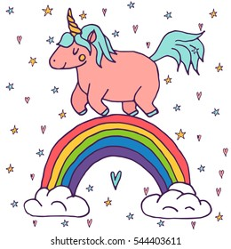 Cute vector unicorn and rainbow - hand drawn kawaii style illustration with imaginary horse from children fairytale. Ink sketch with hearts and stars