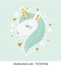 Cute vector unicorn. Trendy sticker, illustration with geometric details. Fairytale. Dream. Fantasy. Magic