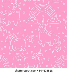 Cute vector unicorns and rainbow seamless pattern - hand drawn kawaii style illustration with imaginary horse from children fairytale. Ink sketch with hearts, stars and rainbow