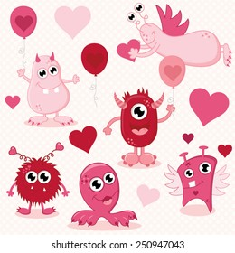 Cute Vector Valentines Day Monsters Set