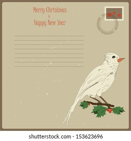 Cute vector vintage card for Christmas and New year holidays with bird illustration. Eps 10