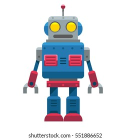 Cute Vector Vintage Robot isolated on White Background.