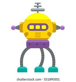 Cute Vector Vintage Robot Isolated Nw