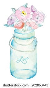 Cute Vector Watercolor Mason Jar With Painted Flowers Bouquet