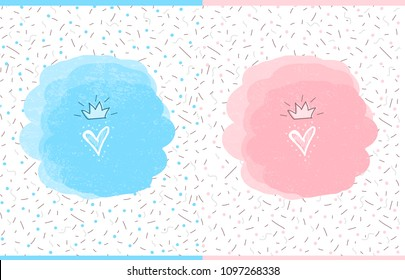 Cute vector watercolor splash. Doodle heart with hand drawn crown. Illustration for kid design ( t-shirt, mug, invite) Pattern for party decoration. Prince and princess gender reveal, pink and blue.