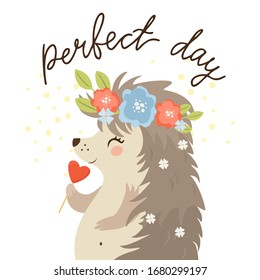 Cute vector wicket with a welcome sign. romantic illustration with birds and flowers
