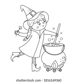 Cute vector witch. Halloween black and white character icon. Funny autumn all saints eve illustration with girl preparing green potion in cauldron. Samhain party coloring page for kids.