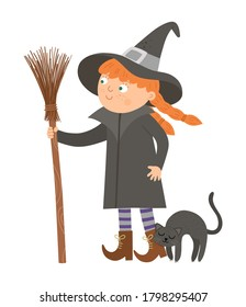 Cute vector witch. Halloween character icon. Funny autumn all saints eve illustration with standing girl, broomstick and cuddling black cat. Samhain party sign design for kids.