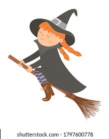 Cute vector witch on the broom. Halloween character icon. Funny autumn all saints eve illustration with girl in a tall hat flying on broomstick. Samhain party sign design for kids.