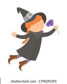 Cute vector witch smelling purple rose. Halloween character icon. Funny autumn all saints eve illustration with girl and flower. Samhain party sign design for kids.