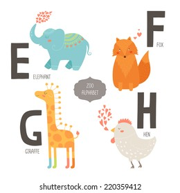 Cute vector zoo alphabet with cartoon animals isolated on white background. E, f, g, h letters. Elephant, fox, giraffe and hen.