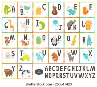Cute vector zoo alphabet with cartoon animals isolated on white background, education cards. Cat, dog, turtle, elephant, panda, alligator,lion, zebra