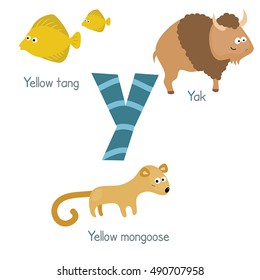 Cute vector zoo alphabet. Funny cartoon animals: yellow tang, yak, yellow mongoose.