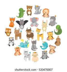 cute vector zoo.  animals. hare, fox, wolf, cat, lion, tiger, bear, deer, panda. children's illustration