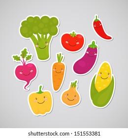 Cute vegetable: broccoli, carrot, tomato, pepper, onion, chili, eggplant, corn, beet