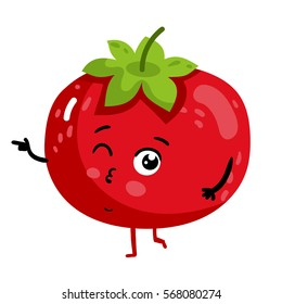 Cute vegetable tomato cartoon character isolated on white background vector illustration. Funny positive and friendly tomato emoticon face icon. Happy smile cartoon face, comical vegetable mascot
